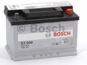 Autobaterie BOSCH S3 008, 12V 70Ah 640A, (0 092 S30 080)