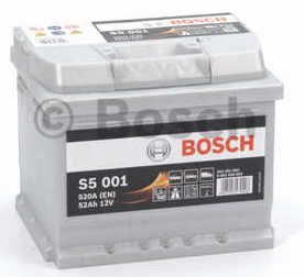 Autobaterie BOSCH S5 001, 12V 52Ah 520A,  (0 092 S50 010)