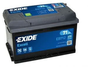 Autobaterie EXIDE Excell 12V 71Ah 670A  EB712