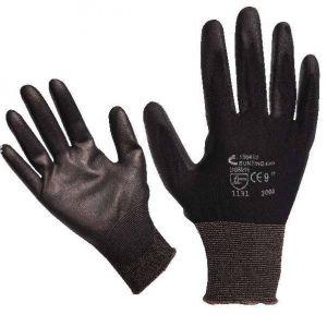 Pracovní rukavice BUNTING - černé, vel. 7 povrstvené