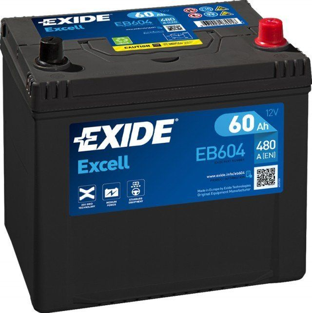 Autobaterie EXIDE Excell 12V 60Ah 390A EB604