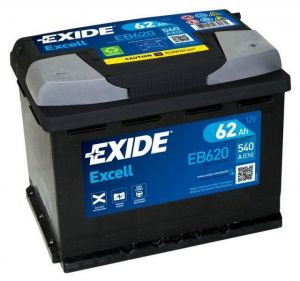 Autobaterie EXIDE Excell 62Ah 540A 12V  EB620