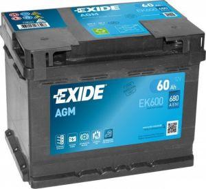Autobaterie Exide Start-Stop AGM, 12V, 60Ah, 680A, EK600