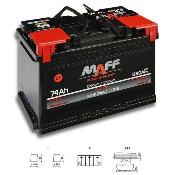 Autobaterie MAFF 12V 74Ah 680A