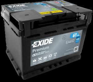 Autobaterie EXIDE Premium 12V 61Ah 600A EA612